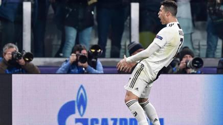Il gestaccio di Cristiano Ronaldo al termine di Juve-Atletico Madrid. Ansa