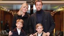 La famiglia Marchisio: Claudio, Roberta e i loro figli Davide e Leonardo.