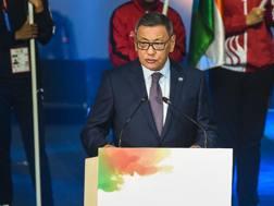 Il discusso presidente Aiba Gafur Rakhimov. Aiba