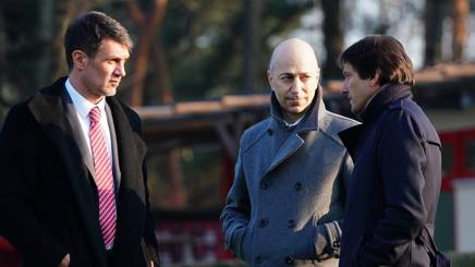 L'a.d. del Milan Gazidis assieme a Maldini e Leonardo LAPRESSE