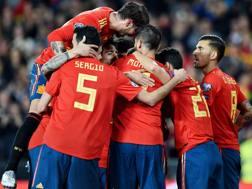 L'esultanza dei giocatori della Spagna. Getty