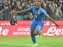 Moise Kean esulta dopo il gol. Afp