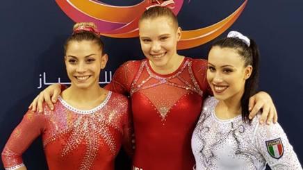Lara Mori, Jade Carey e Vanessa Ferrari sul podio di Doha