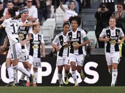 L'esultanza delle giocatrici della Juventus Women. Afp