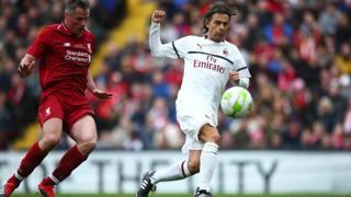 Pippo Inzaghi, 45 anni, in azione nell'amichevole ad Anfield fra Liverpool Legends e Milan Glorie. LaPresse