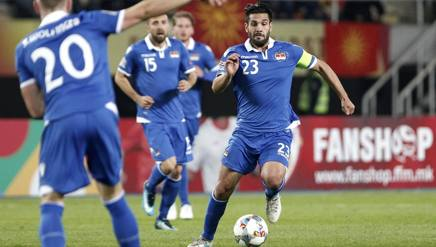 Michele Polverino, 34 anni, in azione con la maglia della Nazionale del  Liechtenstein.