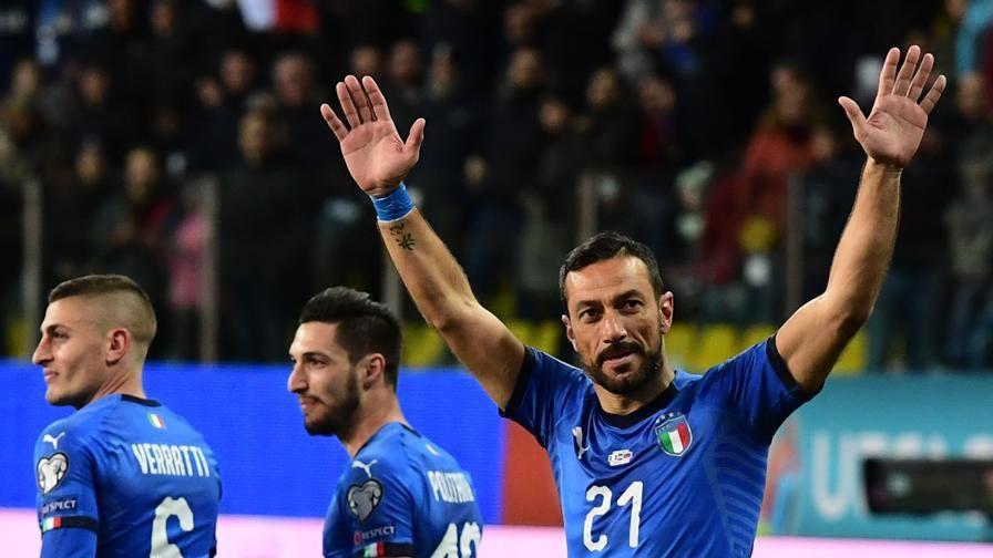 Quagliarella, bis e record 45': Italia-Liechtenstein 4-0