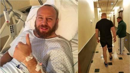 Ghiraldini dopo l'operazione e, a destra, mentre cammina con il fisioterapista Dario Turchetta