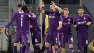 L'esultanza della Fiorentina Primavera. Lapresse