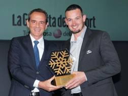 Dominik Paris, 29 anni, riceve il Fiocco d'Oro. Bozzani