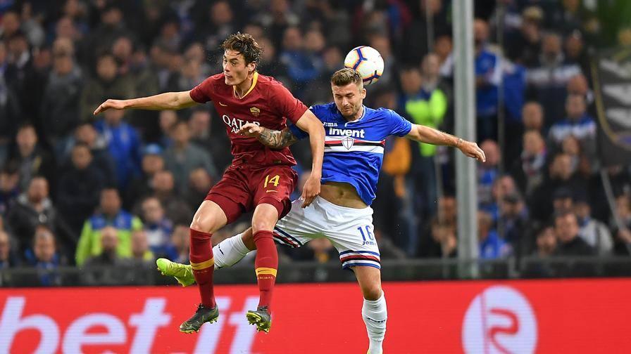 Fin qui regna l'equilibrio Al 45' Sampdoria-Roma 0-0