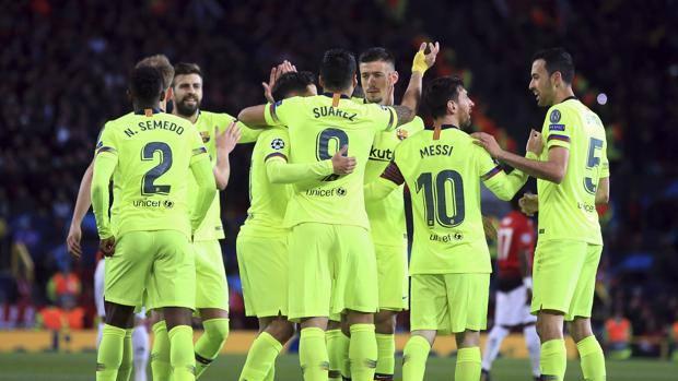 L'esultanza del Barcellona. Ap