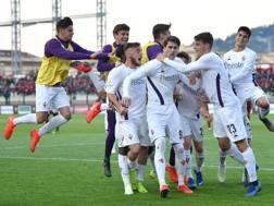 La Fiorentina festeggia la vittoria. Getty