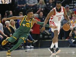 Donovan Mitchell e James Harden, i giocatori chiave di Houston-Utah. Ap