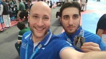 Antonino Bossolo con il coach azzurro Giovanni Lo Dolce. L'azzurro risale il ranking olimpico: è in 4/a posizione