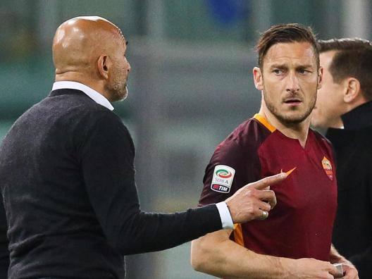Luciano Spalletti e Francesco Totti nel 2016. Ansa