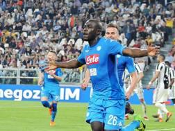 L'esultanza di Koulibaly allo Stadium dopo il gol alla Juventus. Ansa