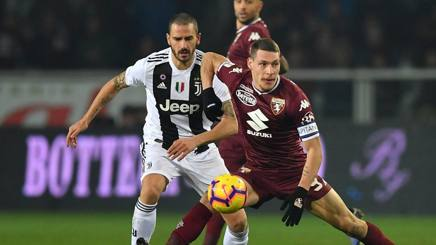 Leonardo Bonucci e Andrea Belotti a contrasto nel derby  d'andata.  Getty