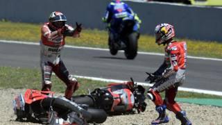 Dovizioso e Jerez, quell'incidente con Lorenzo e Pedrosa del 2018