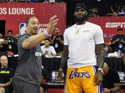 Ty Lue, 41 anni, con LeBron James, 34. Afp