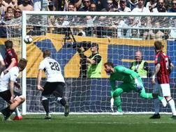 Il gol di Bruno Alves. Lapresse