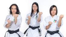 Il team di kata (da sin. Terryana d'Onorio, Michela Pezzetti, Carola Casale) in finale a Rabat