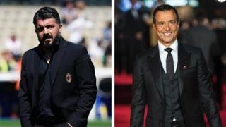 Rino Gattuso, 41 anni, e Jorge Mendes, 53. LaPresse/Afp