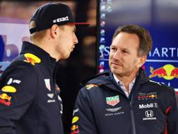 Max Verstappen, 21 anni, con Christian Horner. Getty