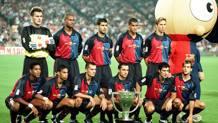 Il Barcellona in maglia bicolore per celebrare il centenario nel 1999