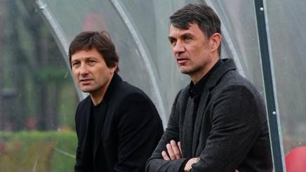 Leonardo, d.t. del Milan, e Paolo Maldini, direttore strategico. LaPresse