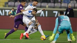 Un momento della semifinale d'andata di Coppa Italia tra Fiorentina e Atalanta, terminata 3-3. Lapresse