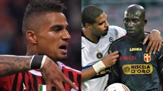 Kevin-Prince Boateng, 32 anni. Marco André Zoro, 35 anni, e Adrianoo, 37 anni, durante Messina-Inter