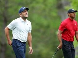 Francesco Molinari e Tiger Woods. Afp
