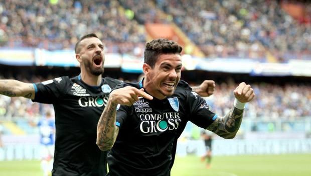 L'esultanza di Farias dopo il primo gol dell'Empoli