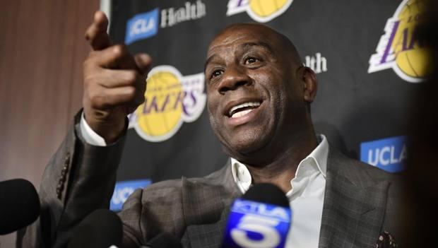 Magic Johnson, 59 anni, ha lasciato i Lakers il mese scorso. Ap