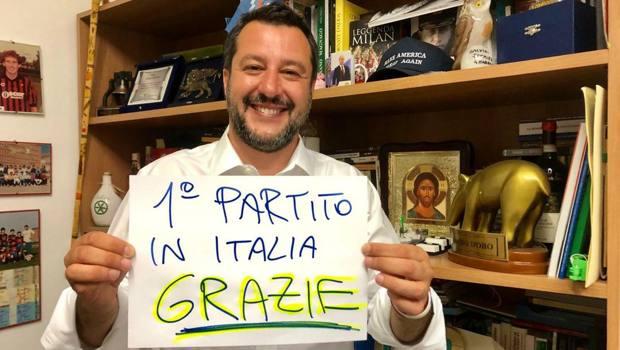 Matteo Salvini nella prima foto postata dopo il voto