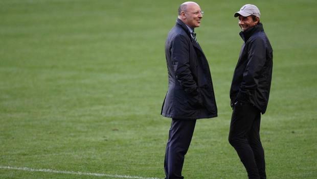 Beppe Marotta e Antonio Conte al tempi della Juventus. LaPresse