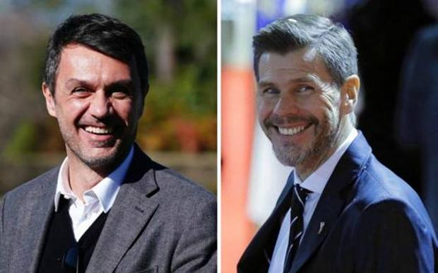 Paolo Maldini, 50 anni, nuovo d.t. del Milan, e Zvonimir Boban, 50, nuovo Chief football officer. LaPresse/Epa