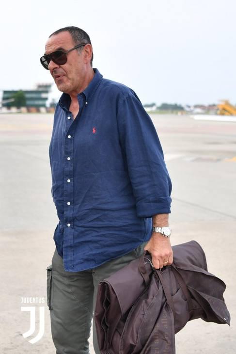 Maurizio Sarri a Caselle. Foto Juventus