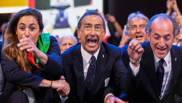 L'esultanza di Sala, al centro, all'annuncio della vittoria di Milano—Cortina