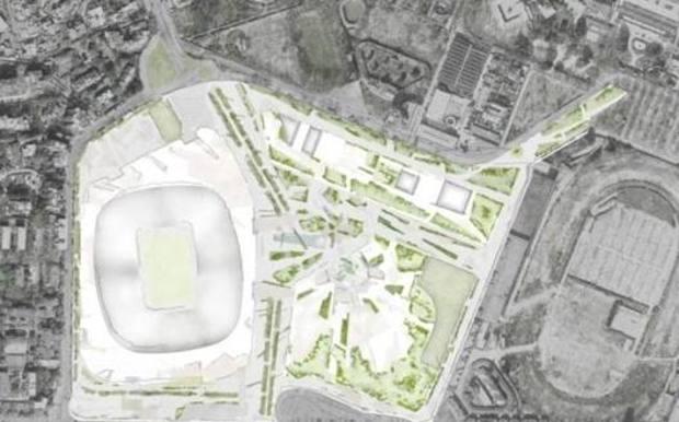 Un'immagine preliminare di come e dove sorgerebbe il nuovo San Siro progettato da Milan e Inter