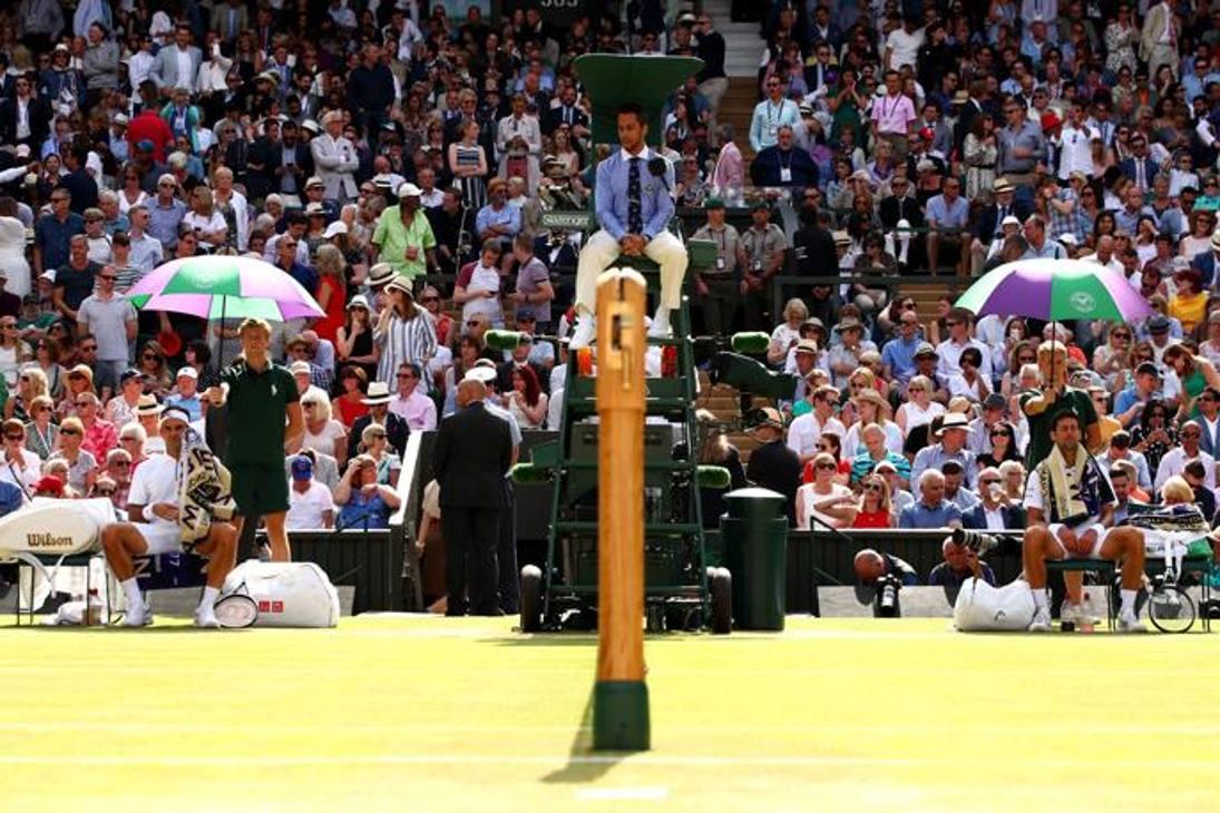 Federer e Djokovic prima della finale. Getty