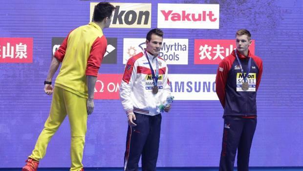 Sun Yang urla a Scott 'Fuck' sul podio dei 200