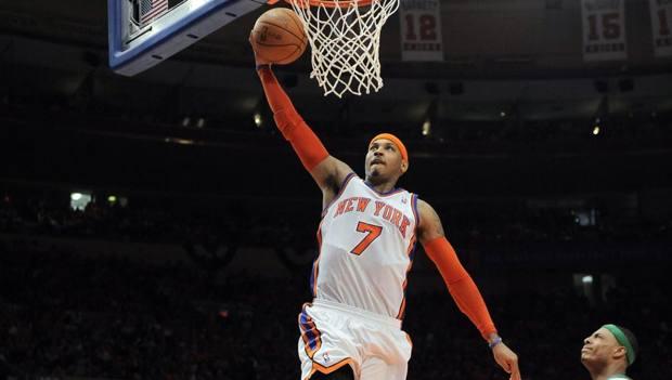 Carmelo Anthony, oggi 34 anni, ha giocato ai Knicks dal 2011 al 2017. Epa