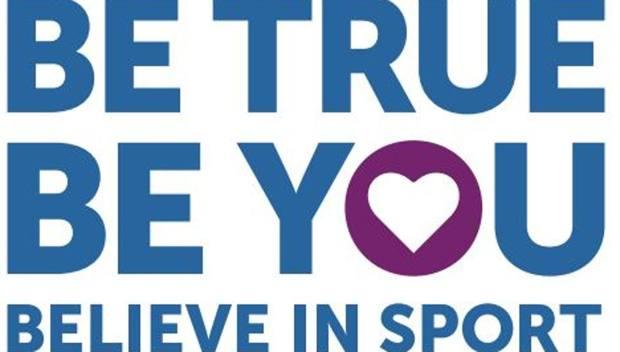 "Il logo della campagna ""Be true. Be you. Believe in Sport"""