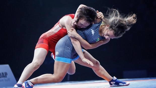 Morena De Vita durante la finale per il bronzo contro la kirghisa Masbek Kyzy