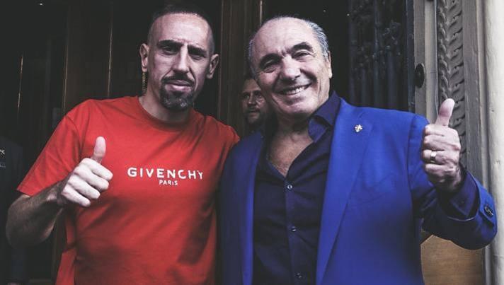 Franck Ribery con Rocco Commisso. Acf Fiorentina