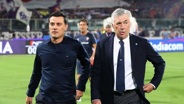 Ancelotti con Montella prima del match