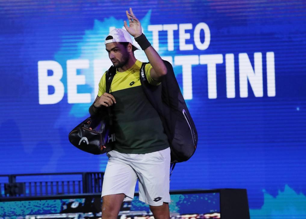 Matteo Berrettini entra in campo: è la sua prima semifinale di uno Slam. Afp