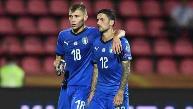 Nicolò Sensi con Stefano Sensi in Finlandia-Italia GETTY